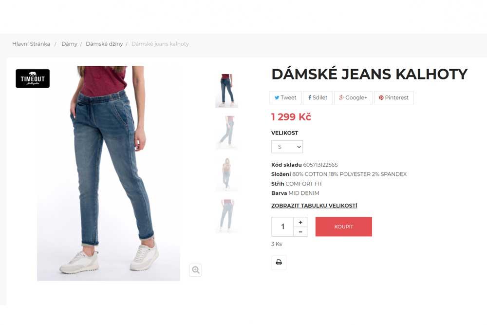 Timeout dámské Jeans kalhoty